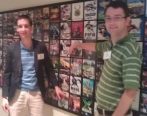 """David and I next to the """"games wall"""" at EA"""